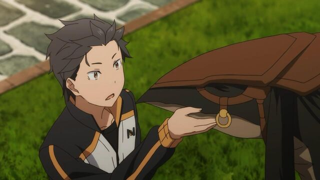 File:Subaru petting Patrasche - Re Zero Anime.jpg