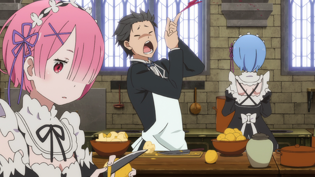 File:Subaru, Ram and Rem Working - Re Zero Anime BD.png