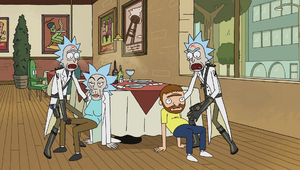 S1e10 fake rick and morty chairs