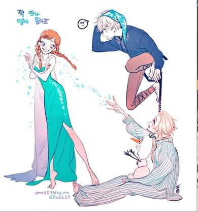 Jack Frost, Elsa, and Anna