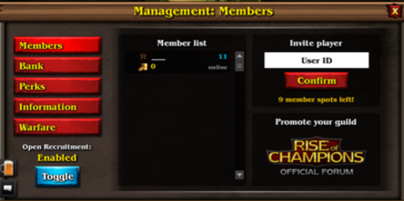 Guild leader menu