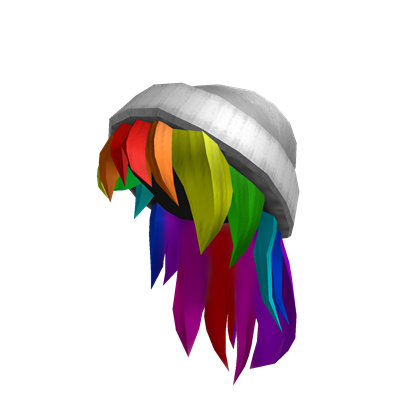 Catalog:White Beanie with Rainbow Hair | ROBLOX Wikia ...