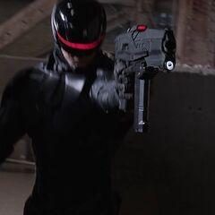RoboCop fires his M2.
