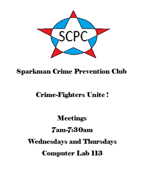 Sparkman Crime Prevention Club Flyer