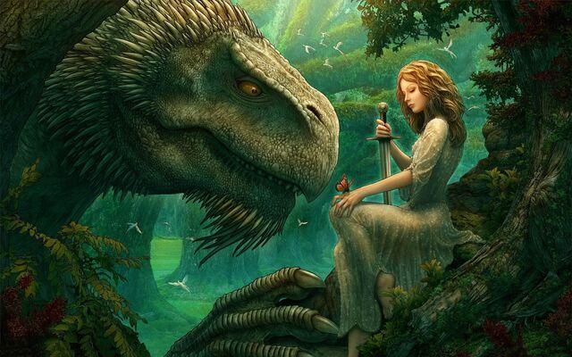File:Girl dinosaur sword butterfly wood 19491 2560x1440.jpg
