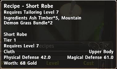 Recipe short robe d
