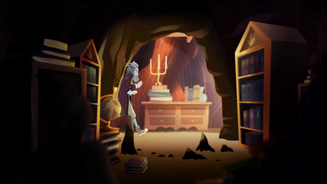 File:Giles Grimm in The Vault of Lost Tales, from the webisode Raven's Tale, The Story of a Rebel.png