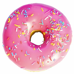 File:Pink frosted sprinkled donut.jpg