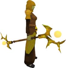 Golden Ahrim's staff equipped