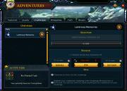 Adventures (Challenges) interface