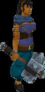 Barbarian warhammer equipped