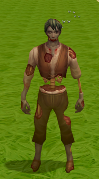 Rotten zombie outfit equipped
