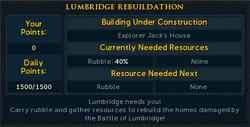 Lumbridge Rebuildathon interface