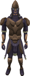 Tyrannoleather armour (male) equipped