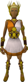 Gold athlete's outfit equipped