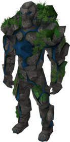 Sapphire golem outfit equipped