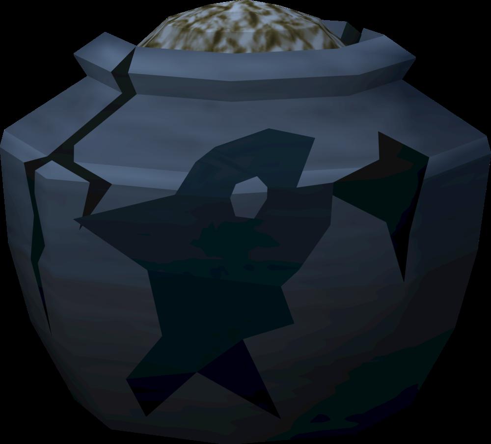 Cracked fishing urn (full) detail
