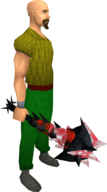 Drygore mace (blood) equipped