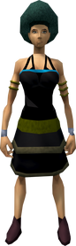 Dark green afro equipped