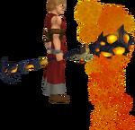 Necromancer's lava staff equipped