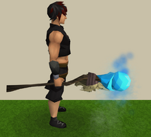 Skeletal staff of water equipped