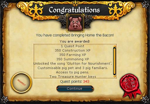 Bringing Home the Bacon reward