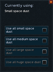 Space dust selection