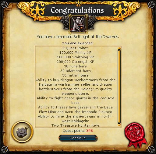 Birthright of the Dwarves reward