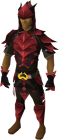 Zamorak dragonhide blessed set equipped (male)