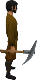 Steel pickaxe equipped