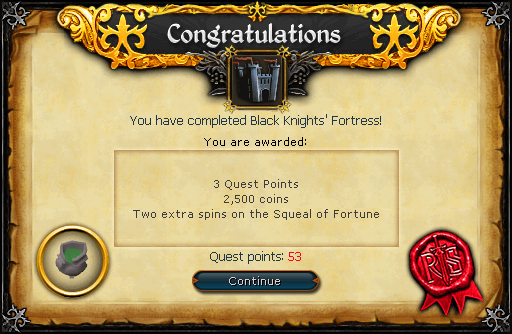 Black Knights' Fortress reward