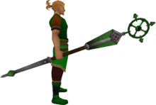 Enhanced ancient staff (green) equipped