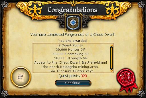 Forgiveness of a Chaos Dwarf reward