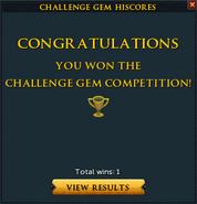 Challenge gem win interface