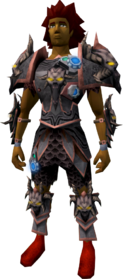 Augmented malevolent armour equipped