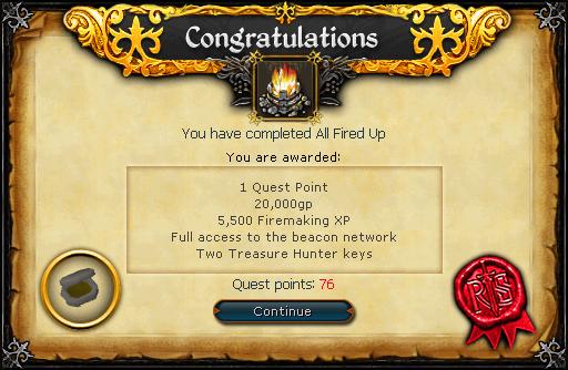 All Fired Up reward
