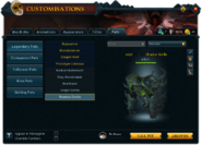 Customisations (Pets) interface