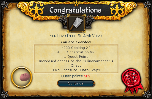 Recipe for Disaster (Freeing Sir Amik Varze) reward