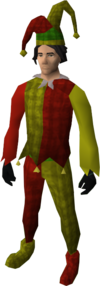Silly jester costume equipped