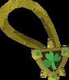 Sparkling three-leaf clover necklace detail