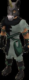 Black unicorn mask equipped