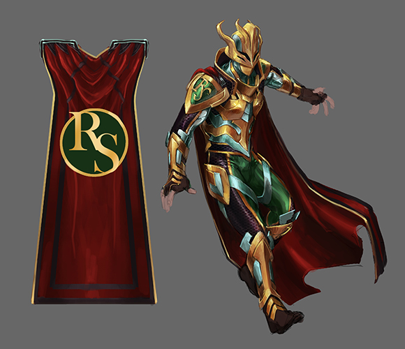 Super September superhero outfit concept art