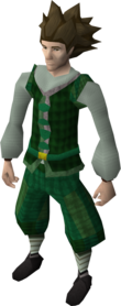 Green elegant clothing male equipped