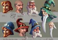 Wizard faces concept art
