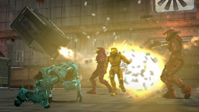 File:Grif, Tucker, Simmons, and Sarge in a Huge Explosion.png