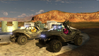 Grif, Simmons, and Tucker riding in warthogs