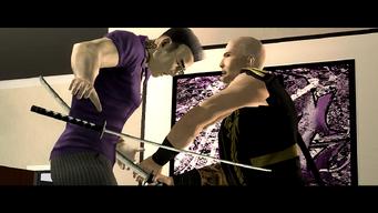 Jyunichi stabbing Gat in House Party cutscene