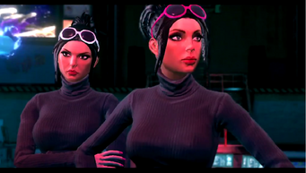 Viola and Kiki DeWynter in an unknown cutscene in Saints Row The Third
