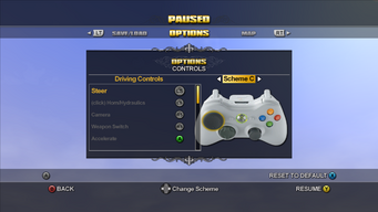 Saints Row Menu - Options - Controls - Driving Controls - Scheme C