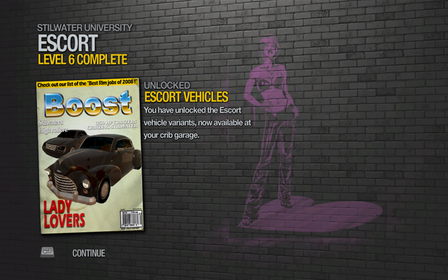 File:Escort Vehicles unlocked by Escort Level 6 in Saints Row 2.png